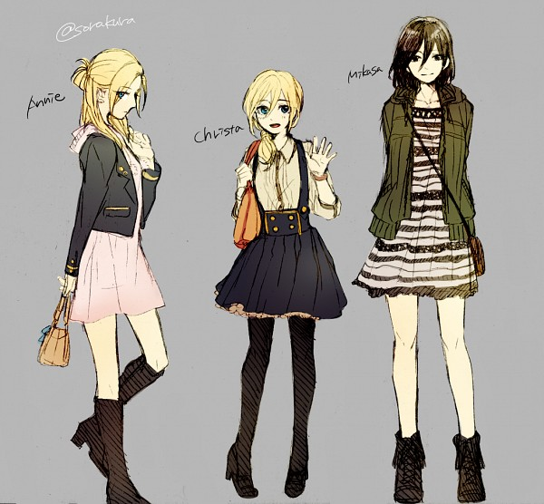 Tags: Anime, Shikiji, Attack on Titan, Annie Leonhardt, Christa Renz, Mikasa Ackerman, Holding Bag, Fanart, Fanart From Pixiv, Pixiv