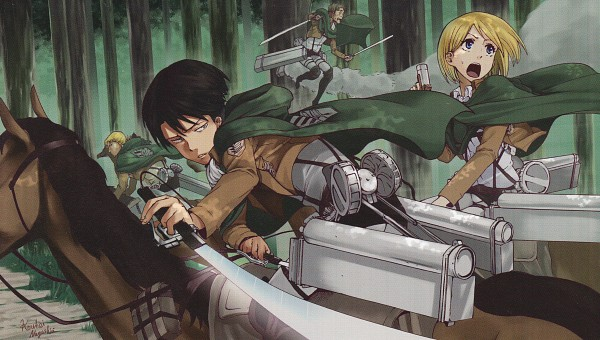 Tags: Anime, Ishikana, Attack on Titan, Levi Ackerman, Auruo Bossard, Erd Gin, Petra Ral, Horseback Riding, Green Cape, Facebook Cover, End Cards, Official Art, Shingeki no Kyojin - End Cards