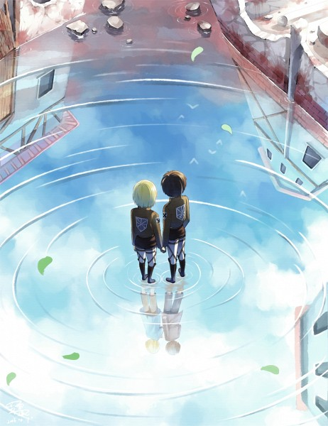 Tags: Anime, Mo Xue Qian Xi, Attack on Titan, Armin Arlert, Eren Jaeger, Water Reflection, Different Reflection, Walking On Water, Pixiv, Fanart, Fanart From Pixiv, Eremin