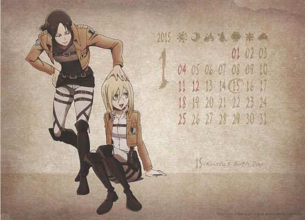 Tags: Anime, WIT STUDIO, Attack on Titan, Shingeki no Kyojin School Calendar, Ymir (Shingeki no Kyojin), Christa Renz, Official Art, Scan, Calendar (Source), Calendar 2015