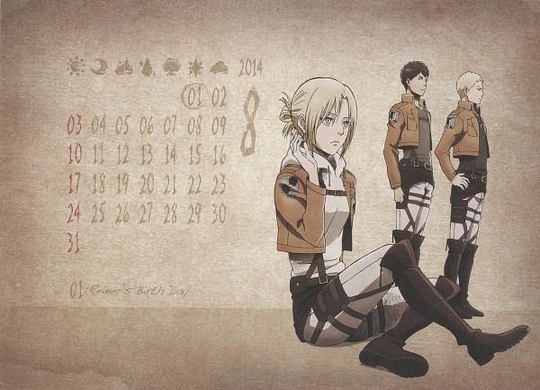 Tags: Anime, WIT STUDIO, Attack on Titan, Shingeki no Kyojin School Calendar, Bertholdt Fubar, Reiner Braun, Annie Leonhardt, Scan, Calendar (Source), Calendar 2014, Official Art