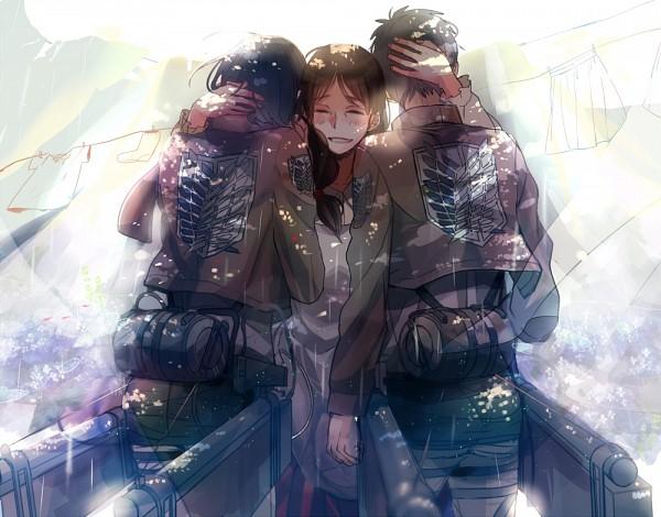 Tags: Anime, Saehina, Attack on Titan, Mikasa Ackerman, Carla Jaeger, Eren Jaeger, Pixiv, Fanart, Fanart From Pixiv, PNG Conversion