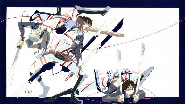 Tags: Anime, Attack on Titan, Eren Jaeger, Conny Springer, Sasha Braus, Shingeki no Kyojin - End Cards, Artist Request, Scan, End Cards, Wallpaper, HD Wallpaper