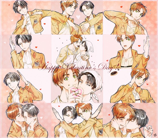 Tags: Anime, Chacall, Attack on Titan, Levi Ackerman, Eren Jaeger, Heart Gesture Duo, Fanart From Pixiv, PNG Conversion, Pixiv, Fanart, Hātotoresu, EreRi