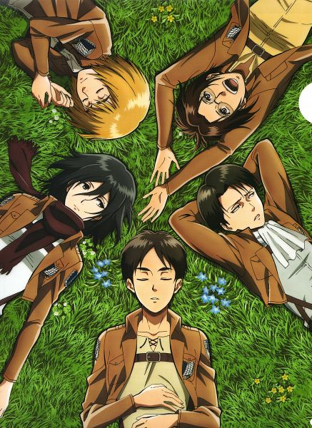 Tags: Anime, WIT STUDIO, Attack on Titan, Armin Arlert, Eren Jaeger, Levi Ackerman, Mikasa Ackerman, Hange Zoë, Laying in Circle, Official Art, Mobile Wallpaper, Scan