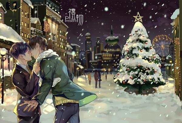 Tags: Anime, Quan-, Attack on Titan, Eren Jaeger, Levi Ackerman, Christmas Lights, Light Pole, Ferris Wheel, Grabbing Scarf, Fanart, Fanart From Pixiv, Pixiv, EreRi