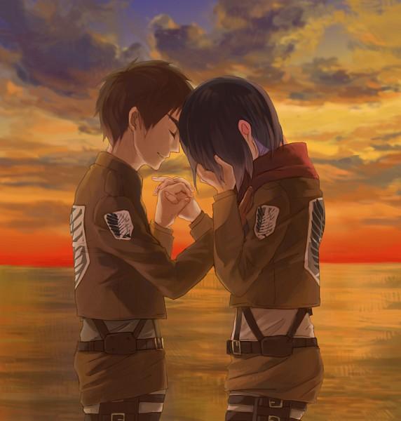 Tags: Anime, Pixiv Id 6873112, Attack on Titan, Eren Jaeger, Mikasa Ackerman, Dusk, Pixiv, Fanart, Fanart From Pixiv