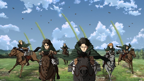 Tags: Anime, Attack on Titan, Petra Ral, Eren Jaeger, Levi Ackerman, Gunter Schulz, 2560x1440 Wallpaper, Horseback Riding, Artist Request, HD Wallpaper, Facebook Cover, Wallpaper, Special Operations Squad