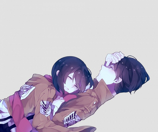 Tags: Anime, Tunxux, Attack on Titan, Levi Ackerman, Mikasa Ackerman, Hand on Forehead, Fanart, Fanart From Pixiv, PNG Conversion, Pixiv, RivaMika