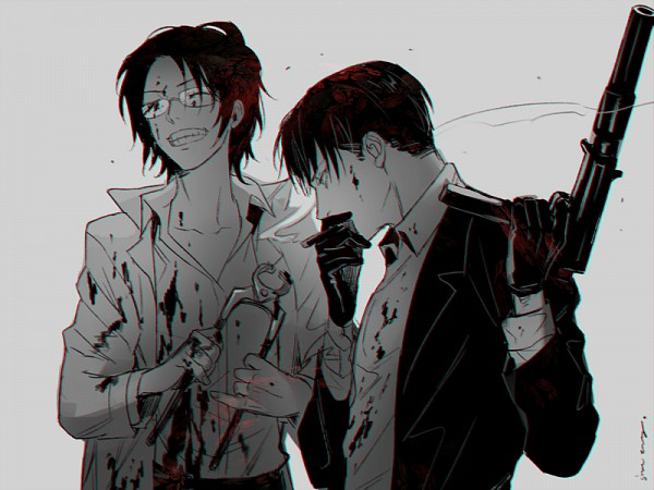 Tags: Anime, Sine, Attack on Titan, Levi Ackerman, Hange Zoë, Fanart, Twitter, PNG Conversion, LeviHan
