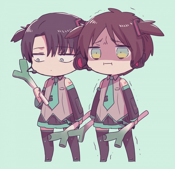 Tags: Anime, Tachibana Amane (Amane01a), Attack on Titan, Eren Jaeger, Levi Ackerman, Hatsune Miku (Cosplay), PNG Conversion, Pixiv, Fanart From Pixiv, Fanart