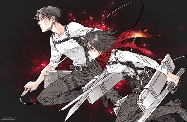 Tags: Anime, Pixiv Id 732682, Attack on Titan, Levi Ackerman, Mikasa Ackerman, Pixiv, Fanart, Fanart From Pixiv