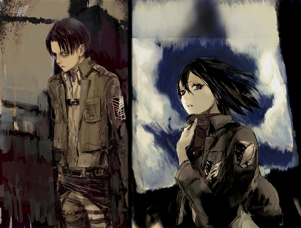 Tags: Anime, Pixiv Id 4277119, Attack on Titan, Mikasa Ackerman, Levi Ackerman, Fanart From Pixiv, Pixiv, Revision, Fanart, RivaMika