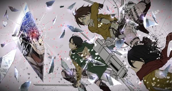 Tags: Anime, Koko (Pixiv56390), Attack on Titan, Levi Ackerman, Rogue Titan, Titan (Shingeki no Kyojin), Mikasa Ackerman, Eren Jaeger, Cracks, Broken Glass, Gritted Teeth, Green Cape, Floating Scarf