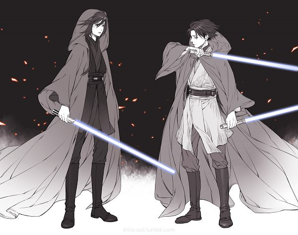 Tags: Anime, Pixiv Id 732682, Attack on Titan, Mikasa Ackerman, Levi Ackerman, Star Wars (Parody), Glowing Weapons, Tumblr, PNG Conversion