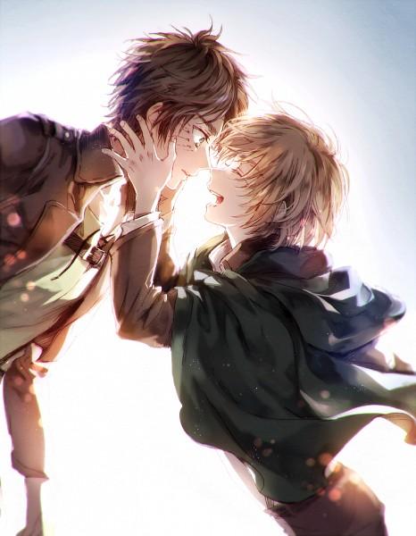 Tags: Anime, Pixiv Id 2128956, Attack on Titan, Armin Arlert, Eren Jaeger, PNG Conversion, Pixiv, Fanart, Fanart From Pixiv, Eremin