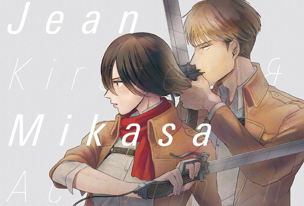 Tags: Anime, Enko (bbbbin), Attack on Titan, Jean Kirschstein, Mikasa Ackerman, Fanart From Pixiv, Pixiv, Fanart
