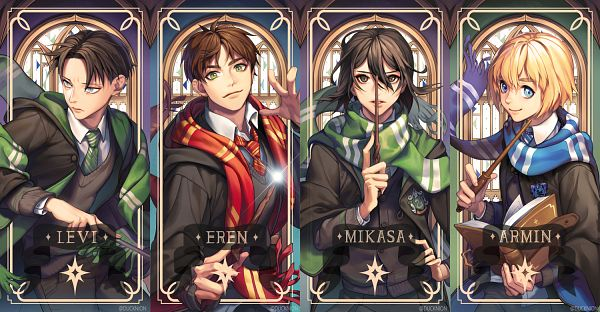 Tags: Anime, Pixiv Id 23181083, Attack on Titan, Levi Ackerman, Mikasa Ackerman, Armin Arlert, Eren Jaeger, Harry Potter (Cosplay), Harry Potter (Parody), PNG Conversion
