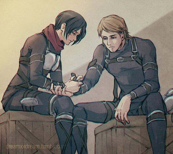 Tags: Anime, Dreamxxdream, Attack on Titan, Jean Kirschstein, Mikasa Ackerman, Sitting On Box, Tumblr, Fanart, Fanart From Tumblr, After Shiganshina, JeanMika