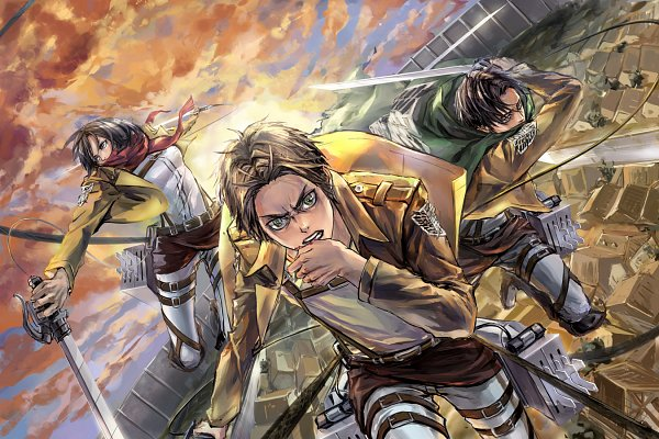 Tags: Anime, zzyzzyy, Attack on Titan, Eren Jaeger, Levi Ackerman, Mikasa Ackerman, Pixiv, Fanart