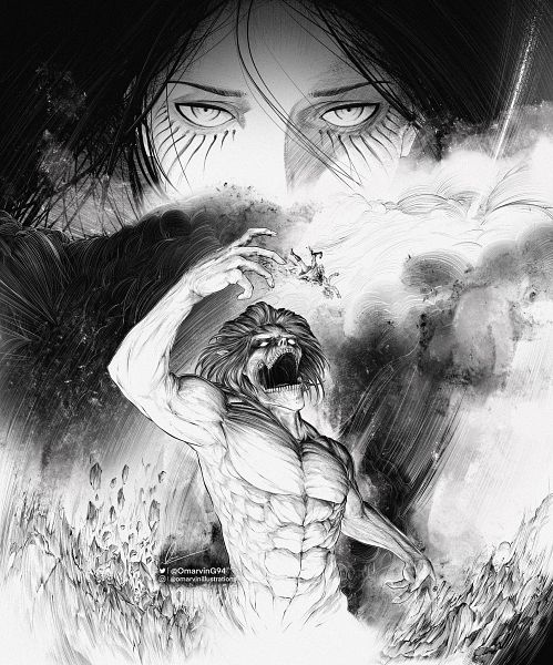 Tags: Anime, Omarving94, Attack on Titan, Willy Tybur, Rogue Titan, Titan (Shingeki no Kyojin), Attack Titan, Eren Jaeger, After Shiganshina, Fanart