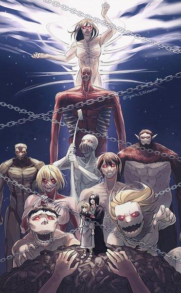 Tags: Anime, Ezgbora, Attack on Titan, Cart Titan, Colossal Titan, War Hammer Titan, Reiner Braun, Zeke Yeager, Rogue Titan, Attack Titan, Annie Leonhardt, Jaw Titan, Founding Titan
