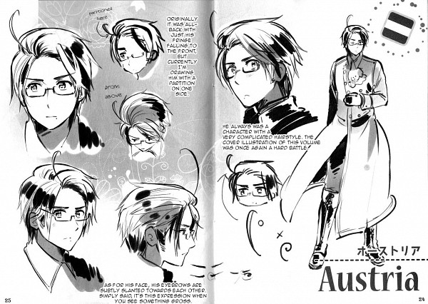 Tags: Anime, Himaruya Hidekaz, Axis Powers: Hetalia, Austria, Character Sheet, Scan, Official Art, Germanic Countries