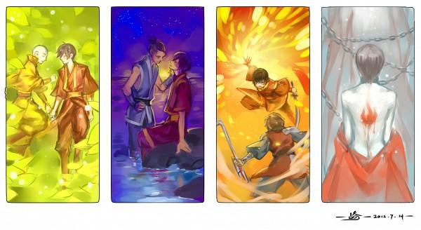 Tags: Anime, yoku (liuyc), Avatar: The Last Airbender, Aang, Sokka, Zuko, Jet (Avatar: The Last Airbender), Laying on Grass, Element, Sitting On Rock, Pixiv, Fanart, Fanart From Pixiv