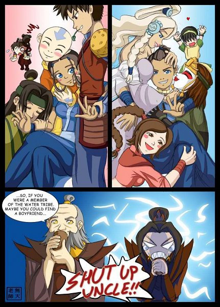 Tags: Anime, Avatar: The Last Airbender, Aang, Zuko, Iroh, Sokka, Haru (Avatar: The Last Airbender), Katara, Yue (Avatar: The Last Airbender), Azula, Suki, Ty Lee, Toph Bei Fong