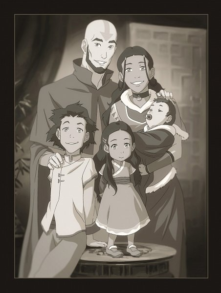 Tags: Anime, Avatar: The Last Airbender, Avatar: The Legend of Korra, Bumi II (Avatar: The Legend of Korra), Katara, Tenzin, Kya II (Avatar: The Legend of Korra), Aang, Official Art, Kataang