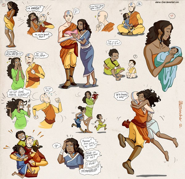 Tags: Anime, Aleccha, Avatar: The Legend of Korra, Avatar: The Last Airbender, Kya II (Avatar: The Legend of Korra), Aang, Bumi II (Avatar: The Legend of Korra), Katara, Tenzin, Pregnant, deviantART, Fanart