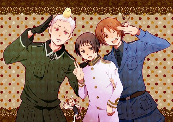 Tags: Anime, Ikko (Superb Pink), Axis Powers: Hetalia, Germany, North Italy, Prussia, Japan, Gilbird, Germany (Cosplay), Iron Cross, Mediterranean Countries, Axis Power Countries, Germanic Countries