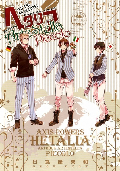Tags: Anime, Himaruya Hidekaz, Axis Powers: Hetalia, ArteStella, Japan, Germany, North Italy, Official Art, Scan, Mobile Wallpaper, Axis Power Countries
