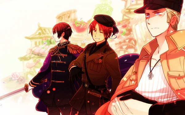 Tags: Anime, Rosel D, Axis Powers: Hetalia, Germany, North Italy, Japan, Iron Cross, Pixiv, Wallpaper, PNG Conversion, Player 2, Fanart, Fanart From DeviantART