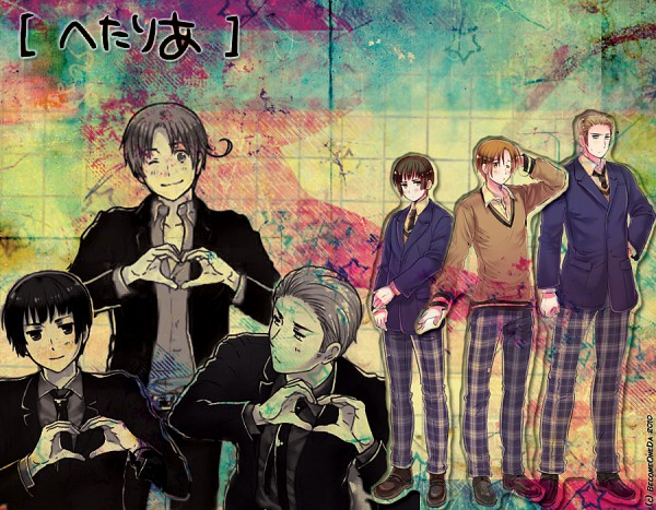Tags: Anime, Axis Powers: Hetalia, Germany, North Italy, Japan, Edited, Amore Mio!, Gakuen Hetalia, Official Art, Axis Power Countries