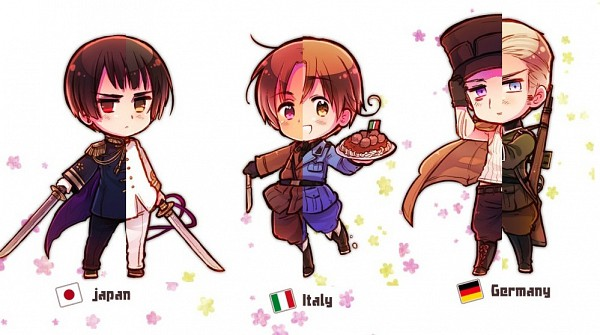 Tags: Anime, Himaruya Hidekaz, Axis Powers: Hetalia, Germany, North Italy, Japan, Facebook Cover, Player 2, Axis Power Countries