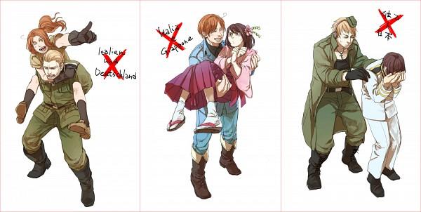 Tags: Anime, OYO, Axis Powers: Hetalia, North Italy, North Italy (Female), Japan, Germany (Female), Japan (Female), Germany, Nyotalia, Pixiv, Facebook Cover, Fanart