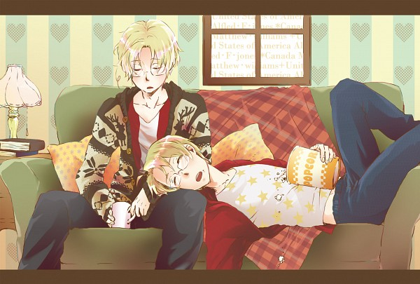 Tags: Anime, Pixiv Id 792397, Axis Powers: Hetalia, Canada, United States, Popcorn, Fanart, Pixiv, Allied Forces