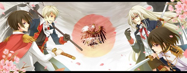 Tags: Anime, Akaha, Axis Powers: Hetalia, Prussia, Prussia (Female), Japan (Female), Japan, Red Sun Motif, Group Versus Group, Fanart, Facebook Cover, Nyotalia, Axis Power Countries