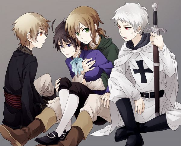 Tags: Anime, Shou G, Axis Powers: Hetalia, Hungary, Romania, Austria, Teutonic Order, Prussia, Medieval, Nyotalia, Pixiv, Fanart, Germanic Countries