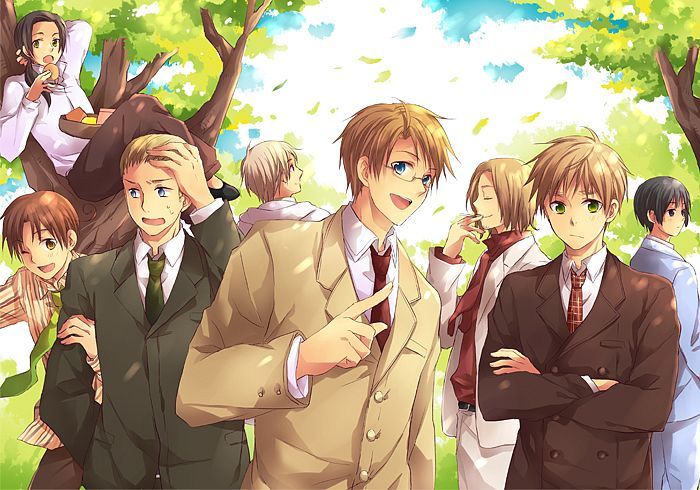 Tags: Anime, Nebukuro, Axis Powers: Hetalia, Japan, North Italy, Russia, United Kingdom, China, United States, France, Germany, Finger In Mouth, Pixiv