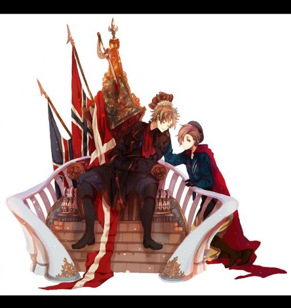 Tags: Anime, Okazaki Oka, Axis Powers: Hetalia, Denmark, Norway, Peaceful, King, Kalmar Union, Fanart, Pixiv, Nordic Countries