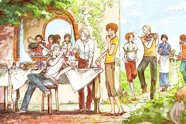 Tags: Anime, Pixiv Id 26070, Axis Powers: Hetalia, South Italy, Japan, United Kingdom, China, Turkey, Taiwan, United States, Hungary, Germany, Greece