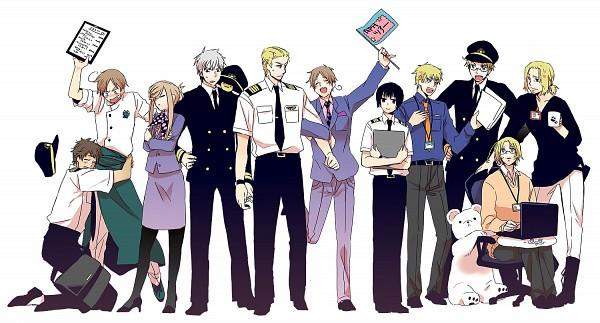 Tags: Anime, Pixiv Id 1557501, Axis Powers: Hetalia, Mochimerica, France, Germany, Japan, Canada, North Italy, Kumajirou, Spain, Prussia, Gilbird