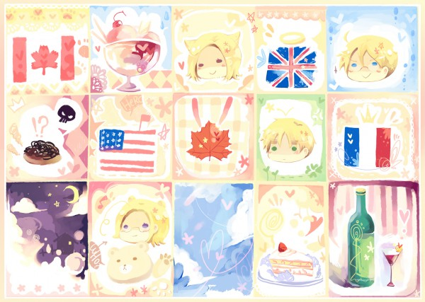Tags: Anime, Axis Powers: Hetalia, Canada, United Kingdom, United States, France, Fanart, Artist Request, Allied Forces