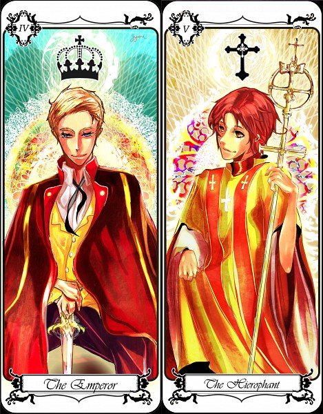 Tags: Anime, Lunaticrosex, Axis Powers: Hetalia, Germany, North Italy, The Hierophant, Emperor, Scepter, Roman Numerals, Clergy, Crucifix, The Emperor, Hierophant