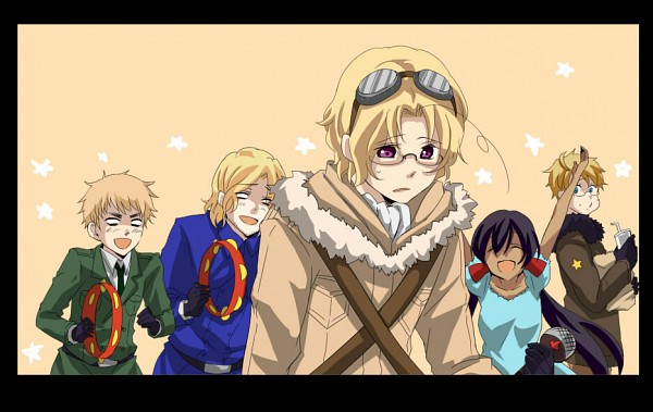 Tags: Anime, Pixiv Id 823513, Axis Powers: Hetalia, Seychelles, Canada, United Kingdom, United States, France, Bomber Jacket, 1089847, Working!! (Parody), Allied Forces