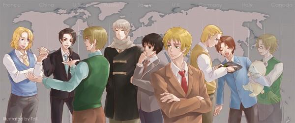 Tags: Anime, Pixiv Id 2136668, Axis Powers: Hetalia, United States, France, Kumajirou, Germany, Japan, North Italy, Canada, Russia, United Kingdom, China