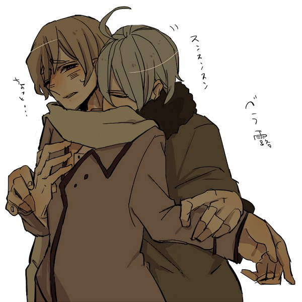 Tags: Anime, Pixiv Id 1814404, Axis Powers: Hetalia, Belarus (Male), Russia, Ukraine (Male), Grabbing Arm, Kiss On The Shoulder, Fanart, Fanart From Pixiv, Pixiv, Nyotalia, Allied Forces