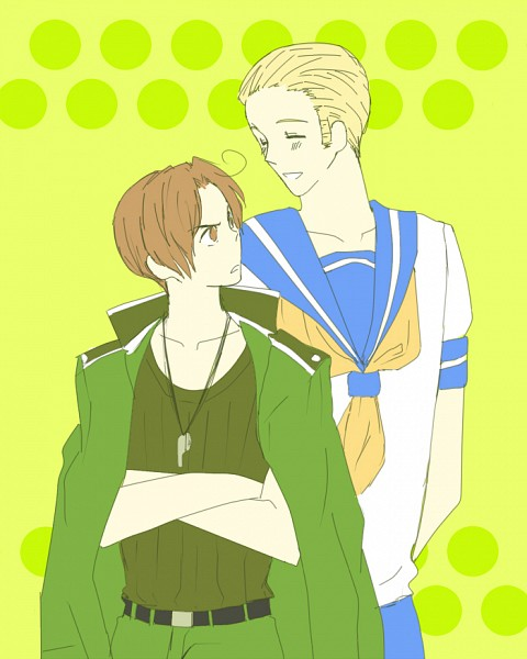Tags: Anime, Dluvulb, Axis Powers: Hetalia, Germany, North Italy, Whistle (Object), Germany (Cosplay), Out of Character, North Italy (Cosplay), Personality Switch, PNG Conversion, Fanart, Fanart From DeviantART